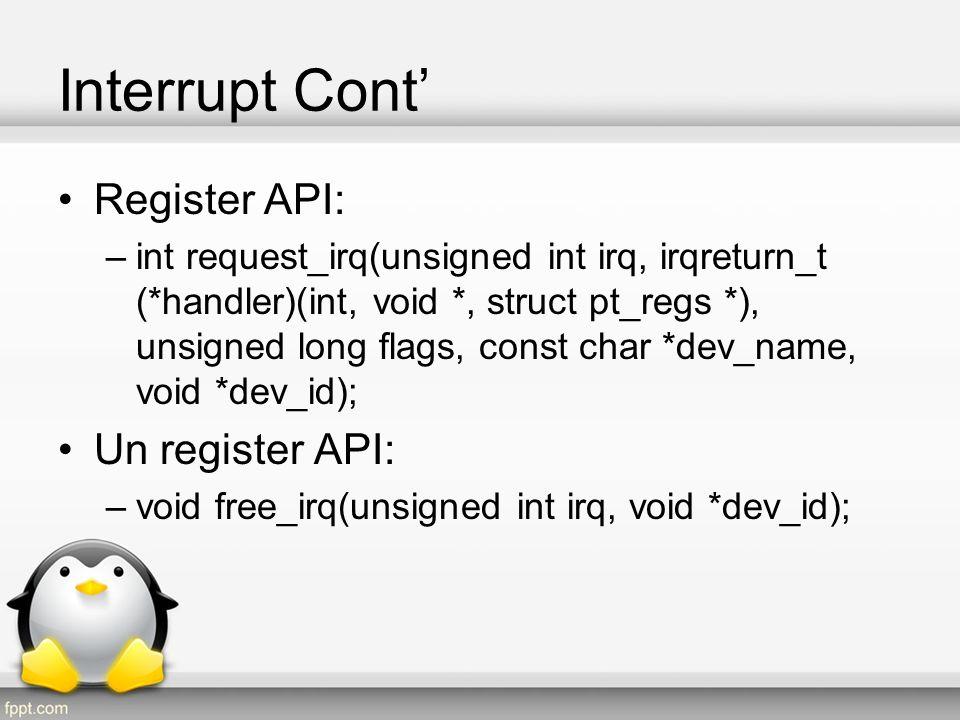 Interrupt Cont' Register API: Un register API: