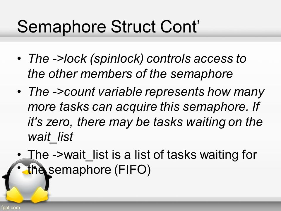 Semaphore Struct Cont'