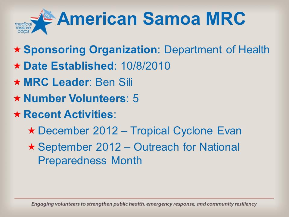 American Samoa MRC Sponsoring Organization: Department of Health