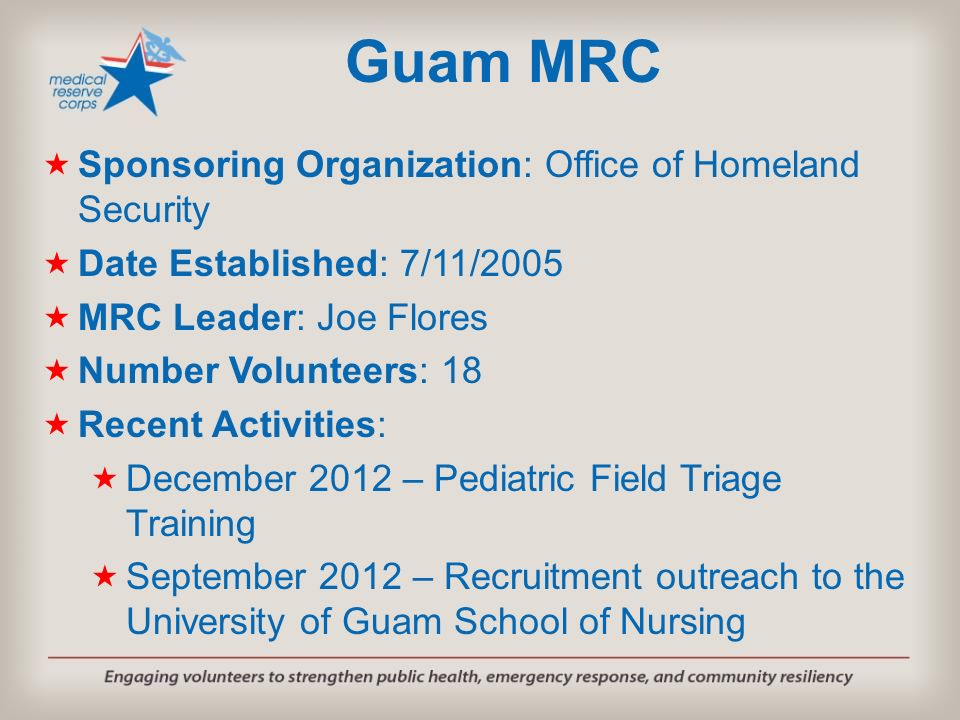 Guam MRC Sponsoring Organization: Office of Homeland Security