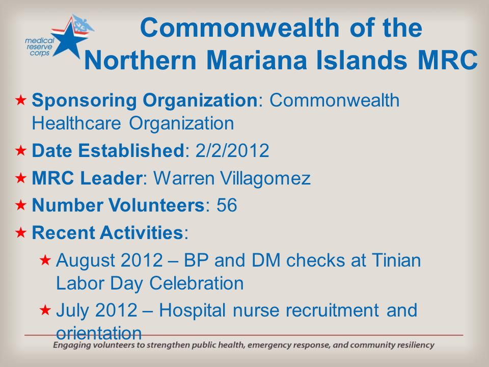 Commonwealth of the Northern Mariana Islands MRC