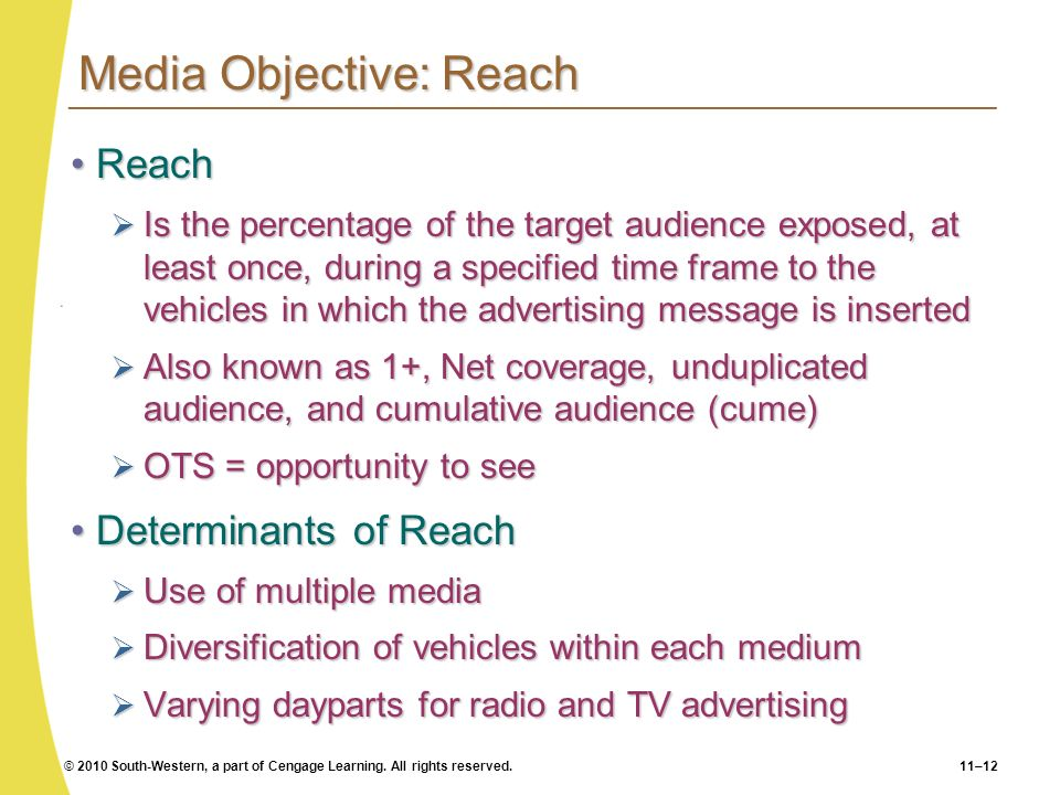 Media Objective: Reach
