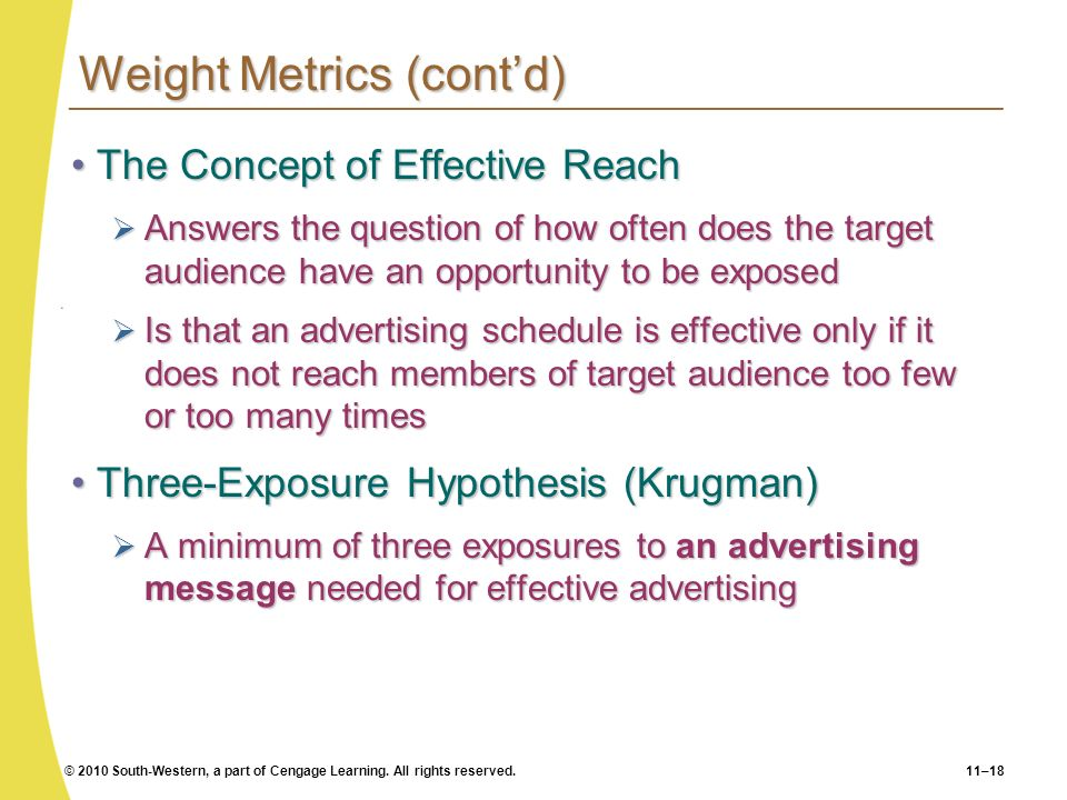 Weight Metrics (cont'd)