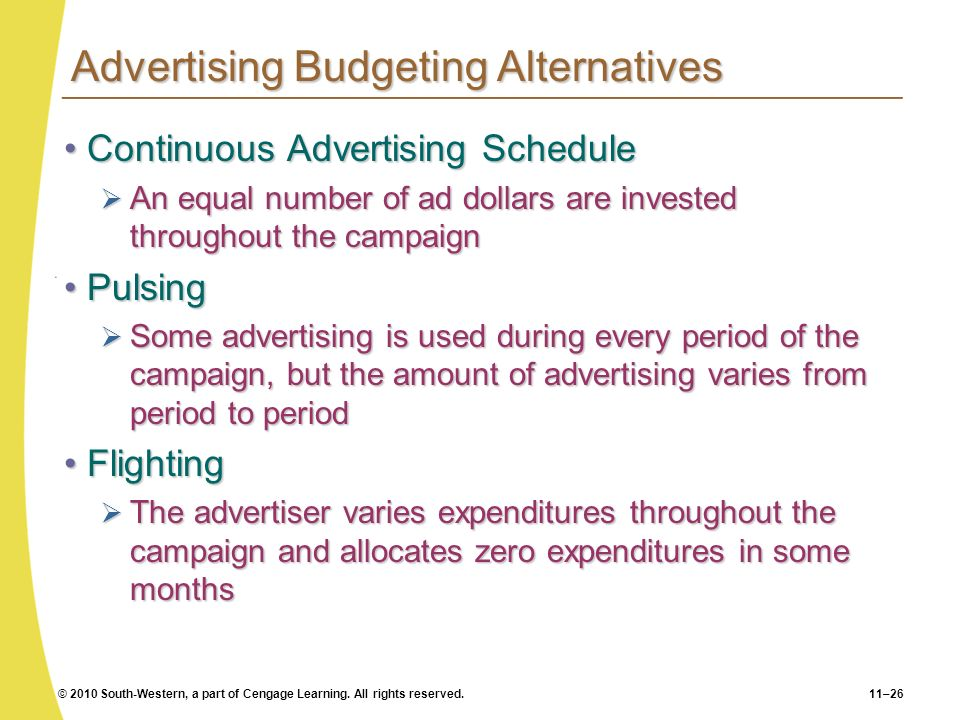 Advertising Budgeting Alternatives