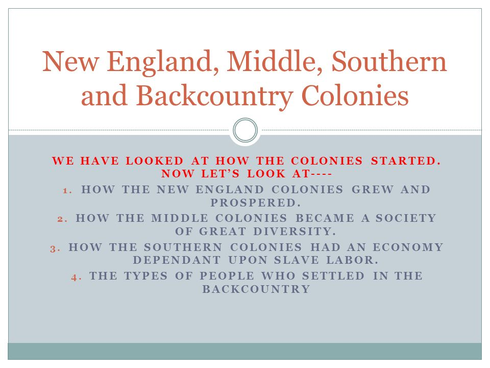 New England, Middle, Southern and Backcountry Colonies