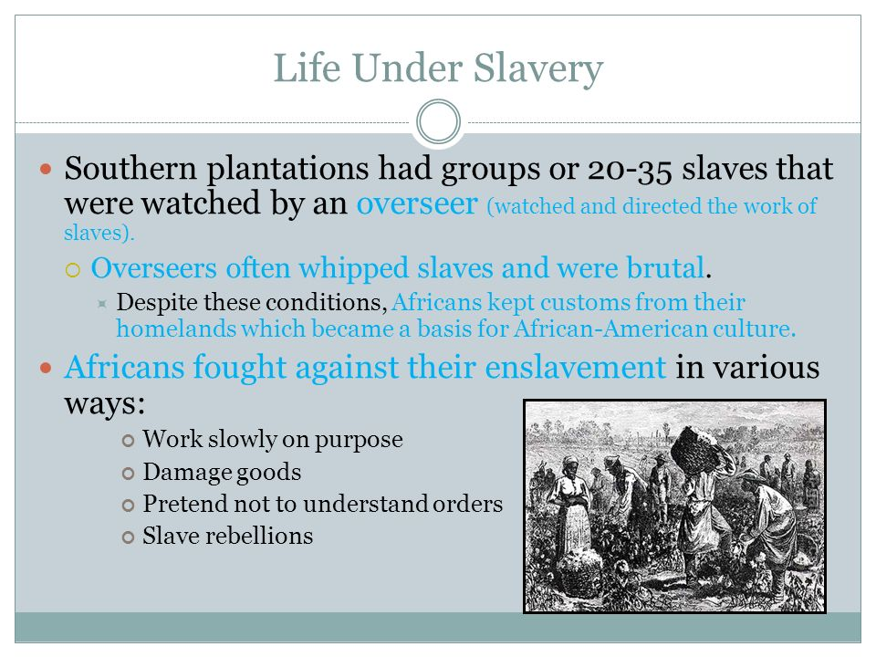 Life Under Slavery Southern plantations had groups or 20-35 slaves that were watched by an overseer (watched and directed the work of slaves).