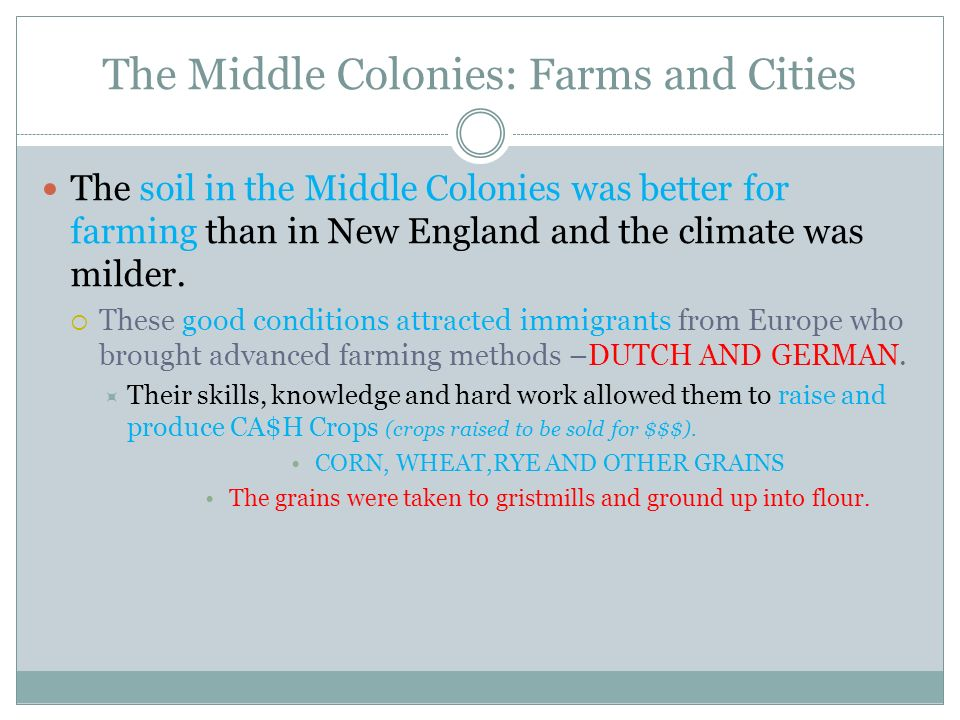 The Middle Colonies: Farms and Cities