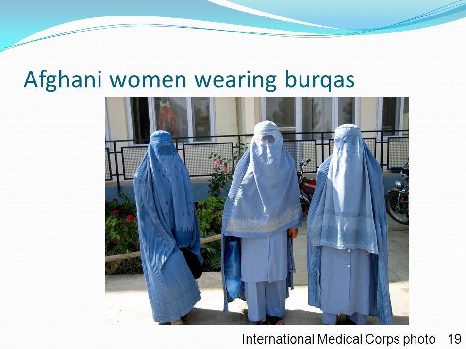 Afghani women wearing burqas