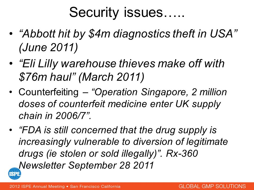 Security issues….. Abbott hit by $4m diagnostics theft in USA (June 2011) Eli Lilly warehouse thieves make off with $76m haul (March 2011)