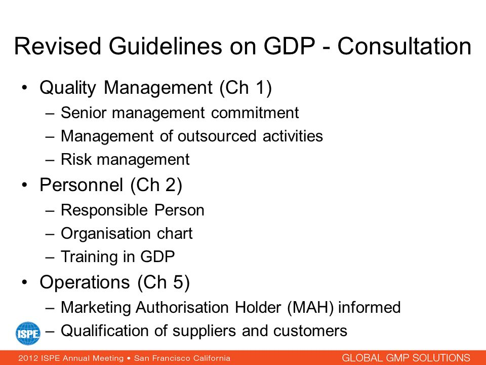 Revised Guidelines on GDP - Consultation