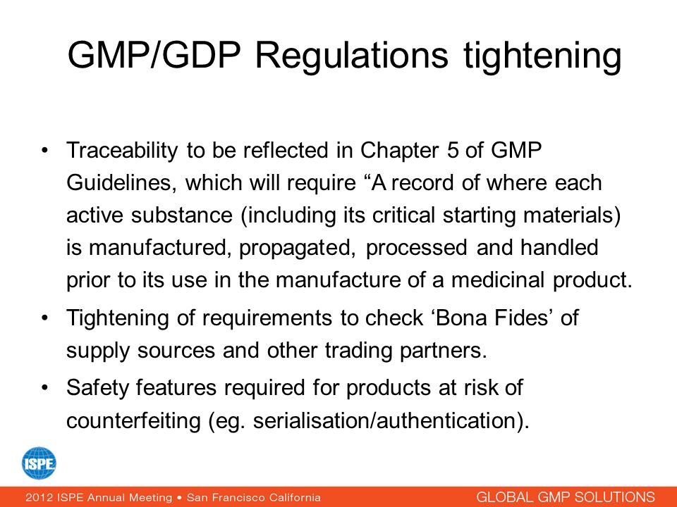 GMP/GDP Regulations tightening