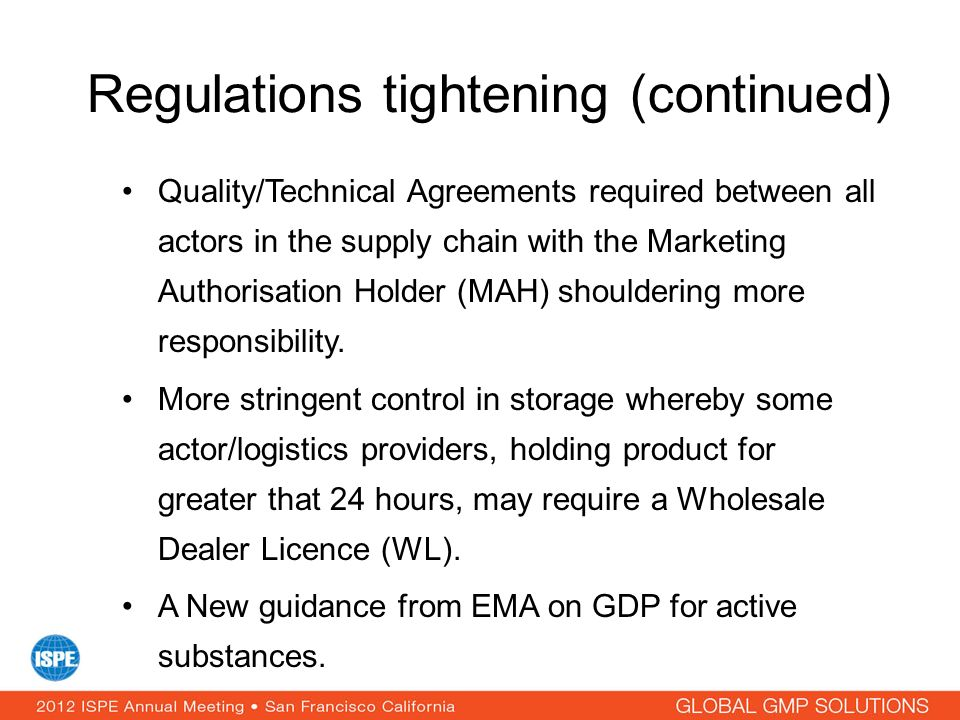 Regulations tightening (continued)