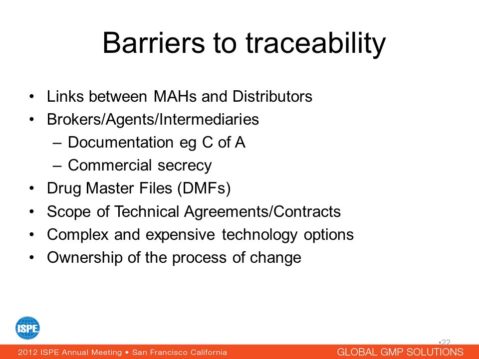 Barriers to traceability