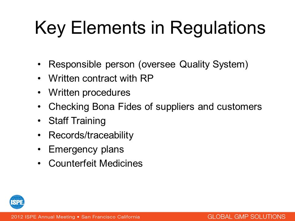 Key Elements in Regulations
