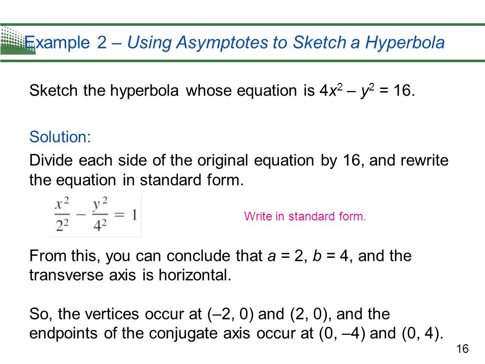Example 2 – Using Asymptotes to Sketch a Hyperbola