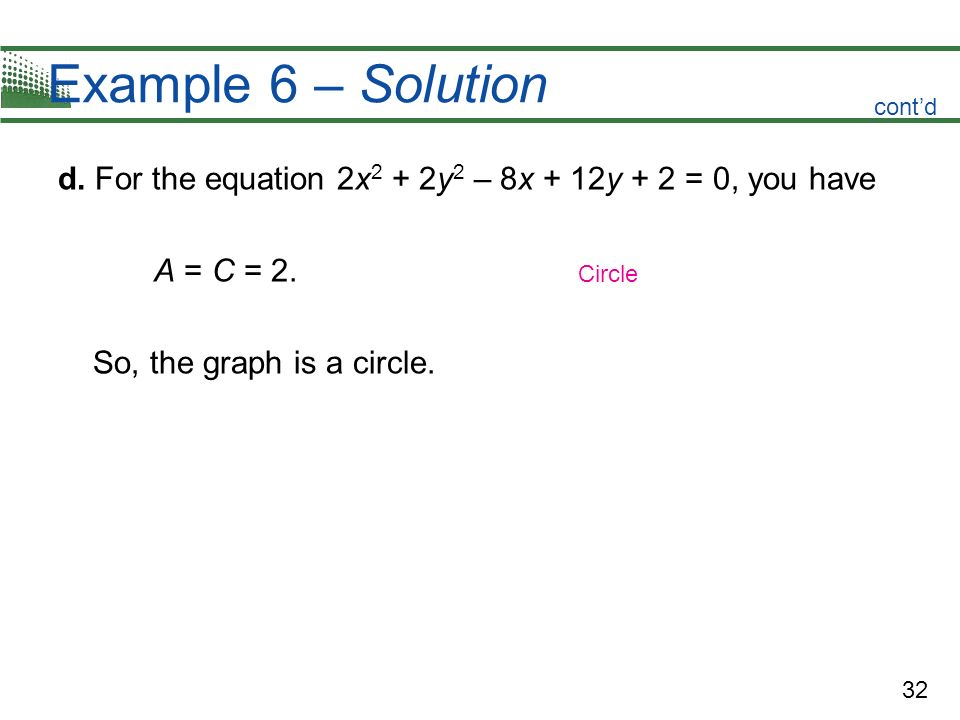 Example 6 – Solution cont'd. d. For the equation 2x2 + 2y2 – 8x + 12y + 2 = 0, you have. A = C = 2.