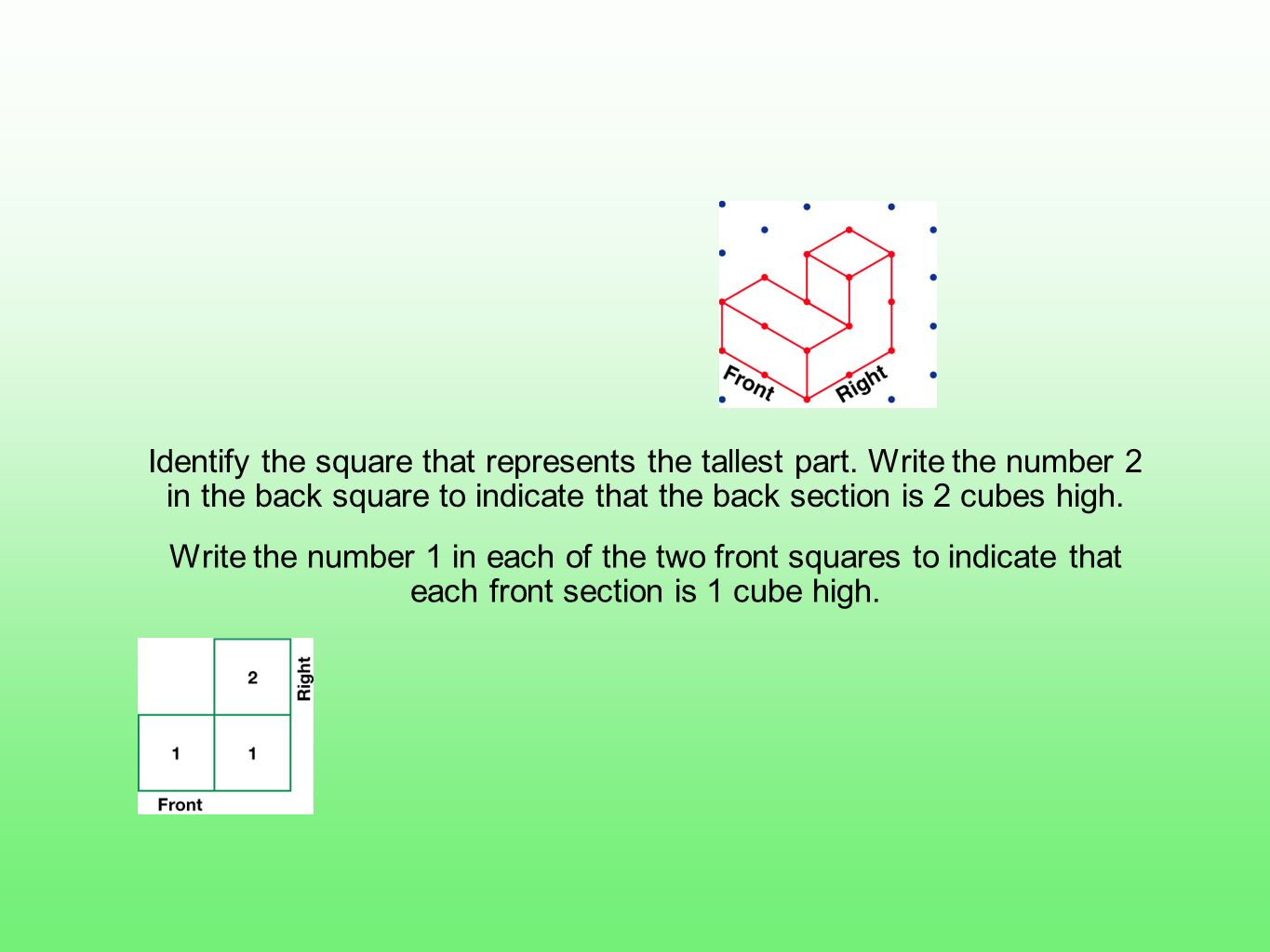 Identify the square that represents the tallest part