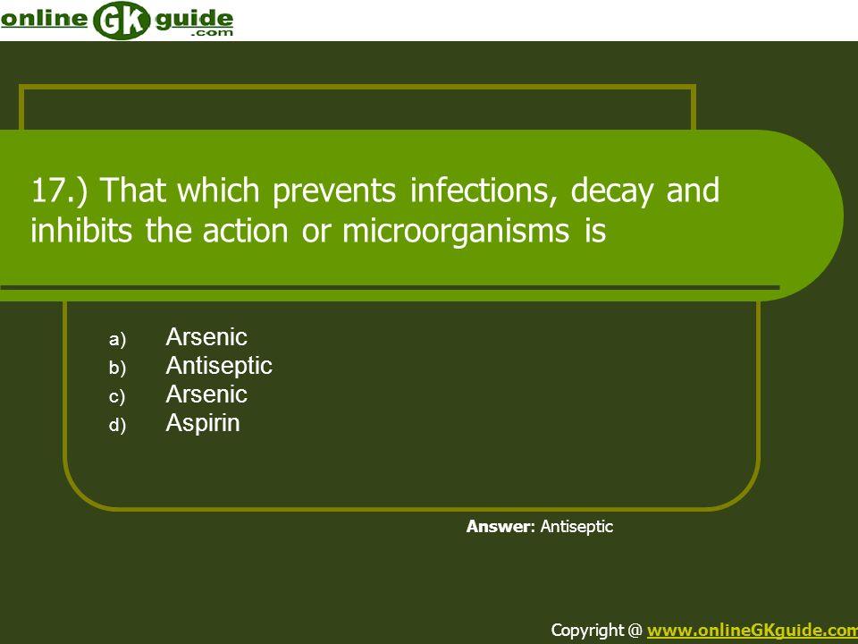 Arsenic Antiseptic Aspirin