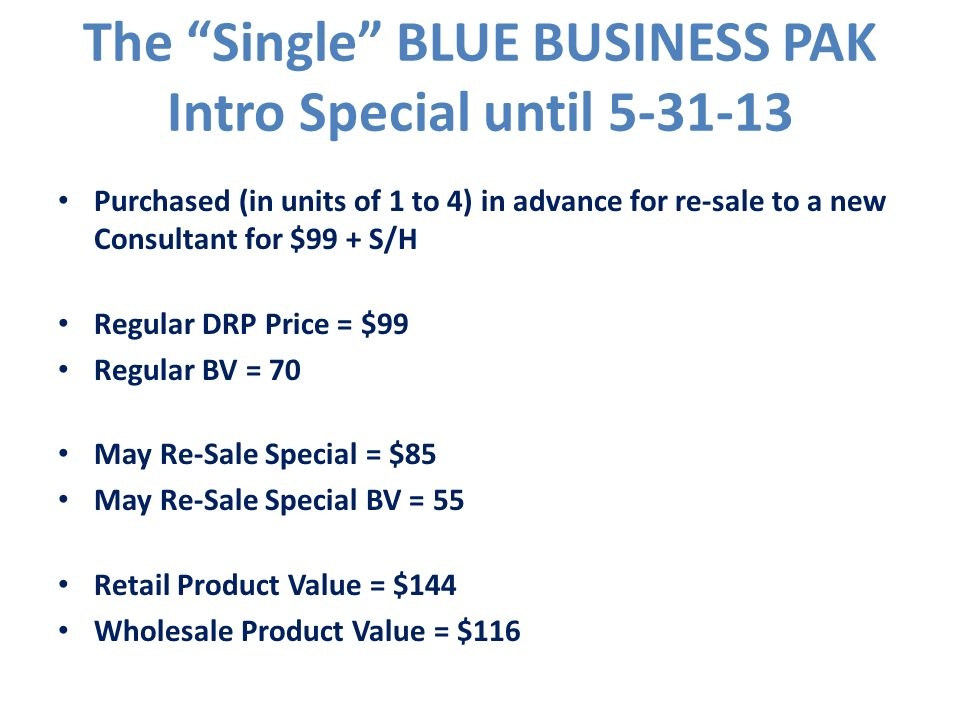 The Single BLUE BUSINESS PAK Intro Special until 5-31-13