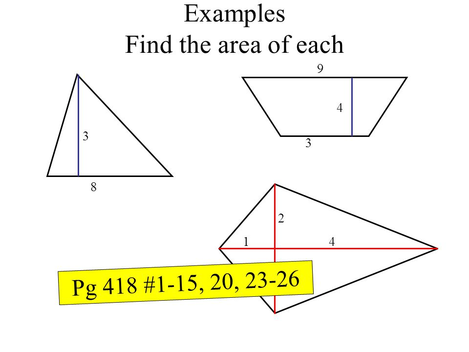 Examples Find the area of each