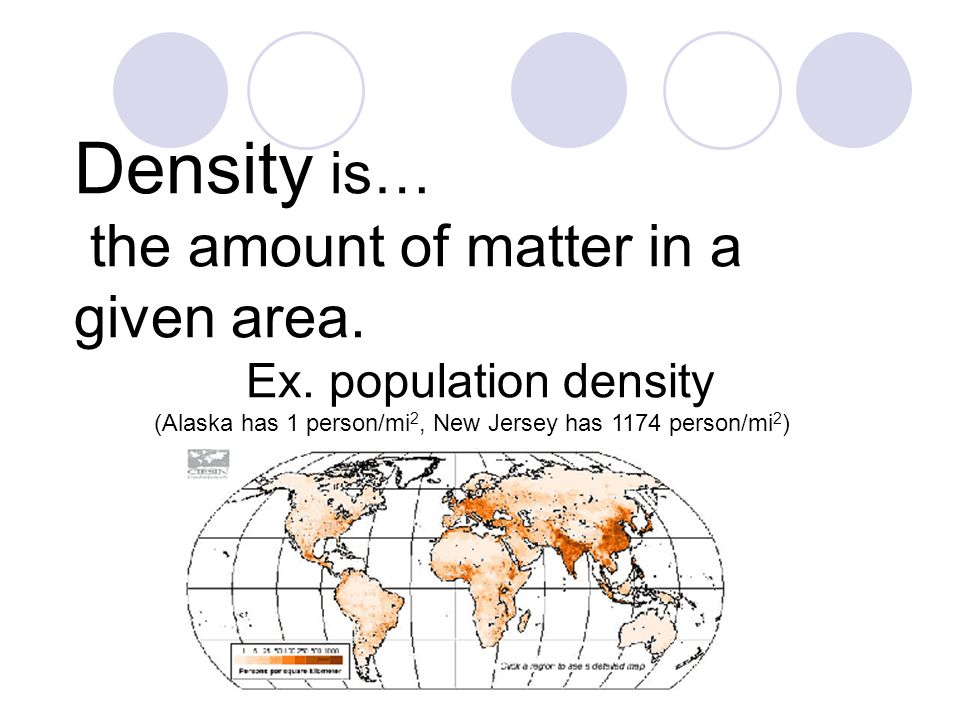 Density is… the amount of matter in a given area.