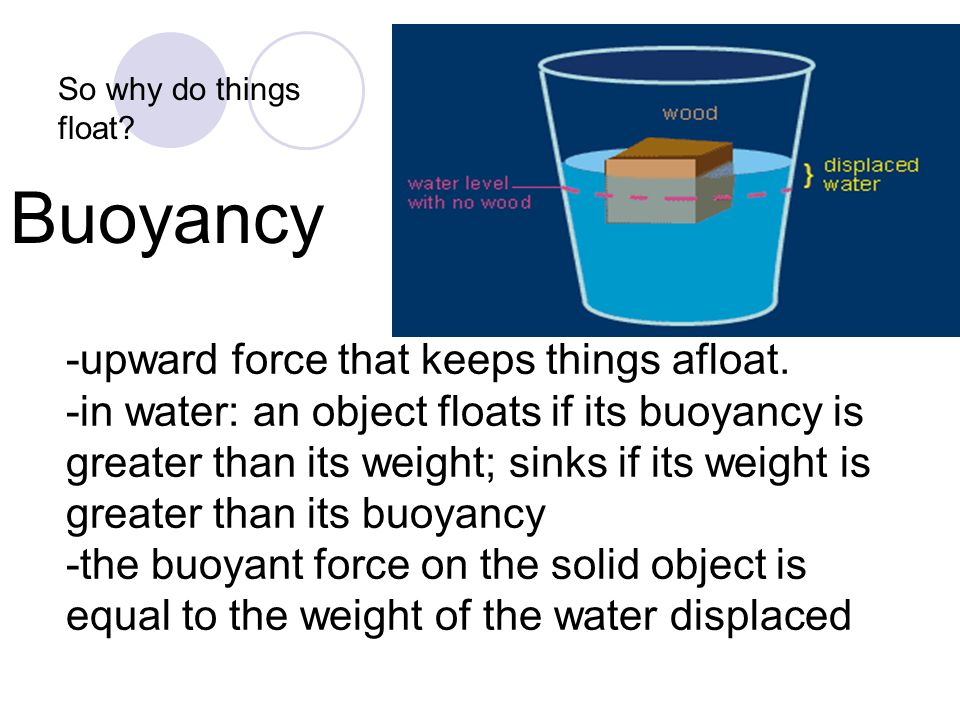 Buoyancy -upward force that keeps things afloat.
