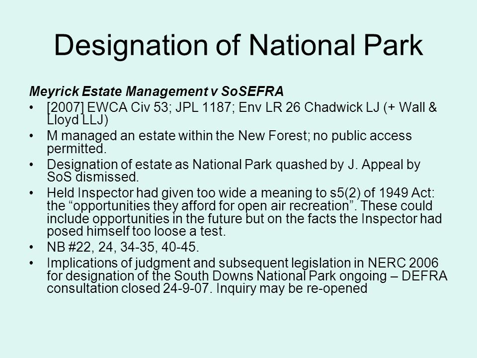 Designation of National Park