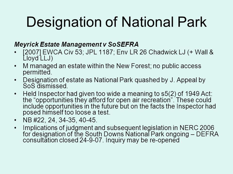 Designation of National Park