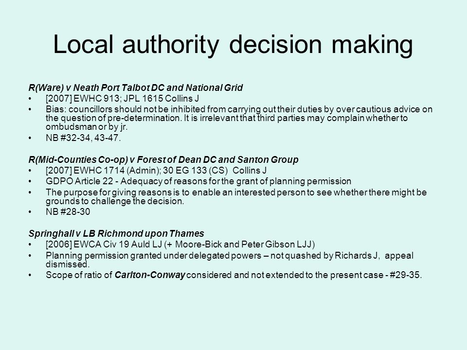 Local authority decision making