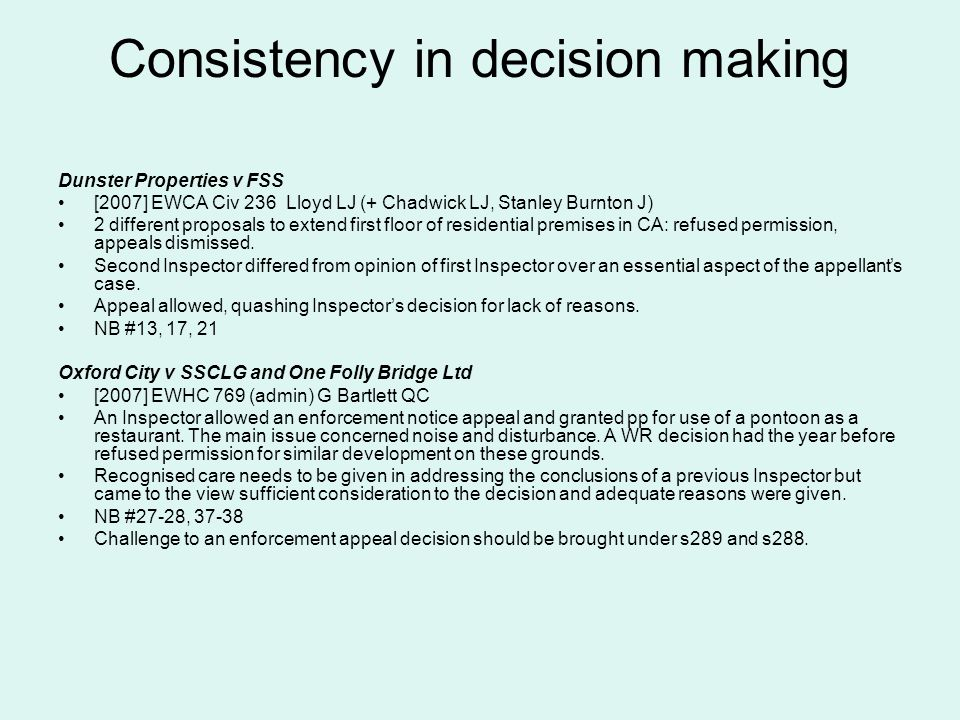 Consistency in decision making