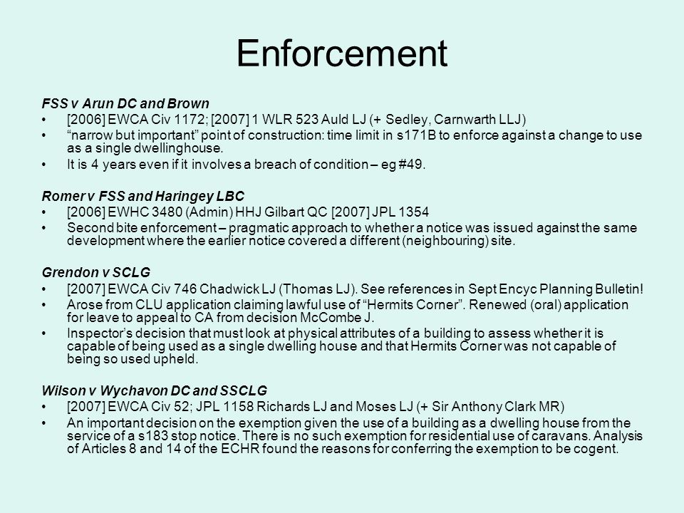 Enforcement FSS v Arun DC and Brown