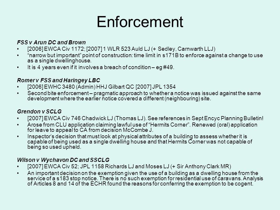 Enforcement FSS v Arun DC and Brown