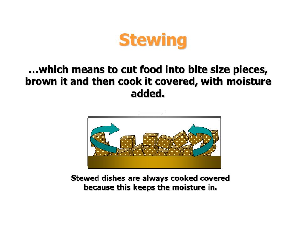 Stewing …which means to cut food into bite size pieces, brown it and then cook it covered, with moisture added.