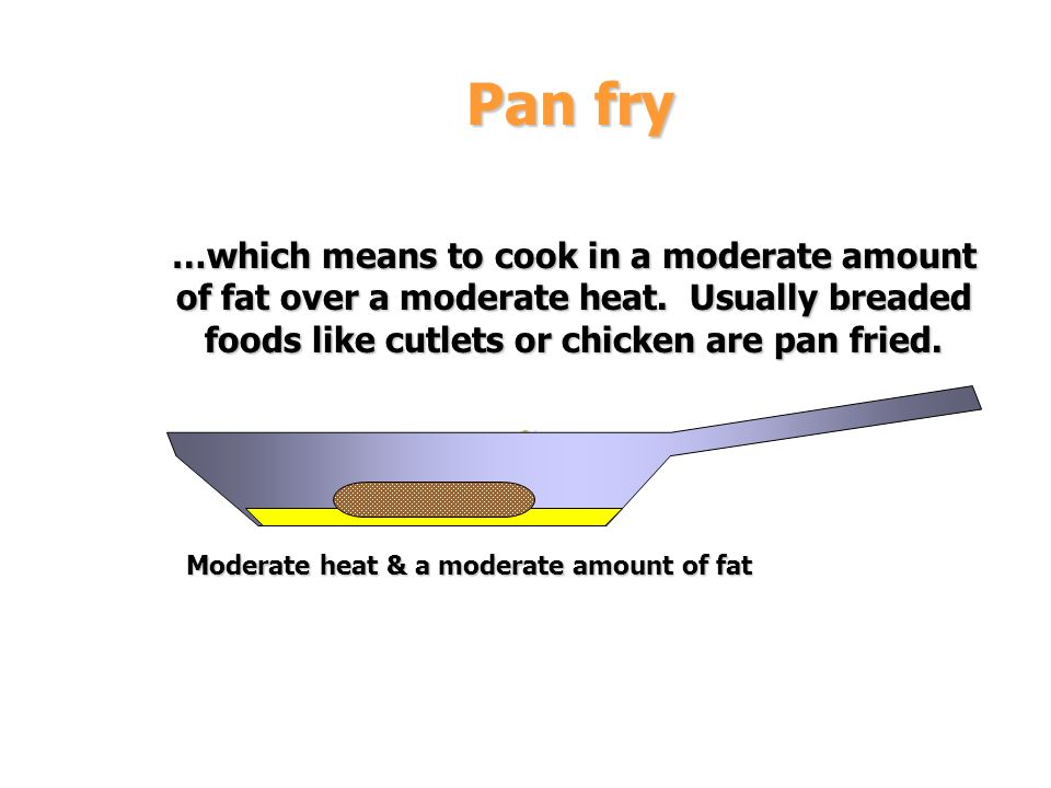 Pan fry …which means to cook in a moderate amount of fat over a moderate heat. Usually breaded foods like cutlets or chicken are pan fried.