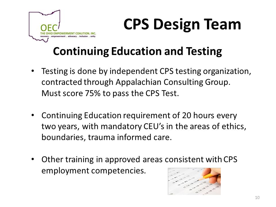 Continuing Education and Testing
