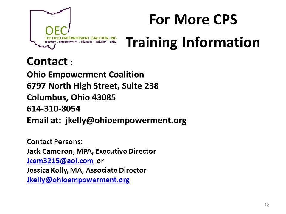For More CPS Training Information