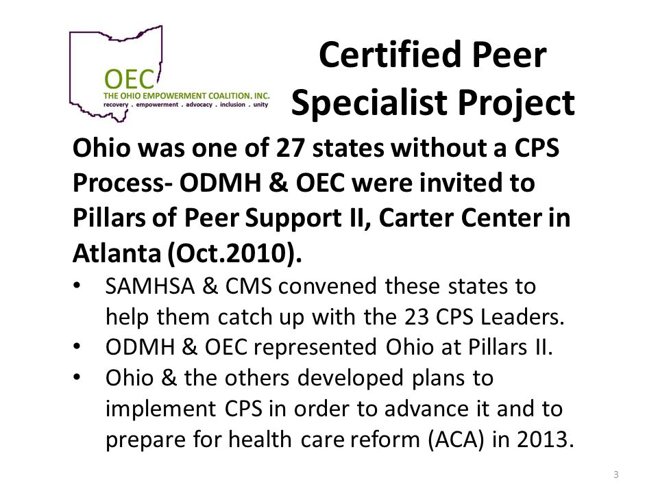 Certified Peer Specialist Project