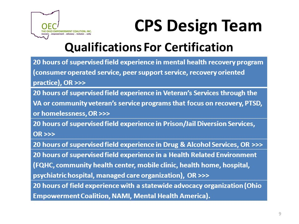 Qualifications For Certification
