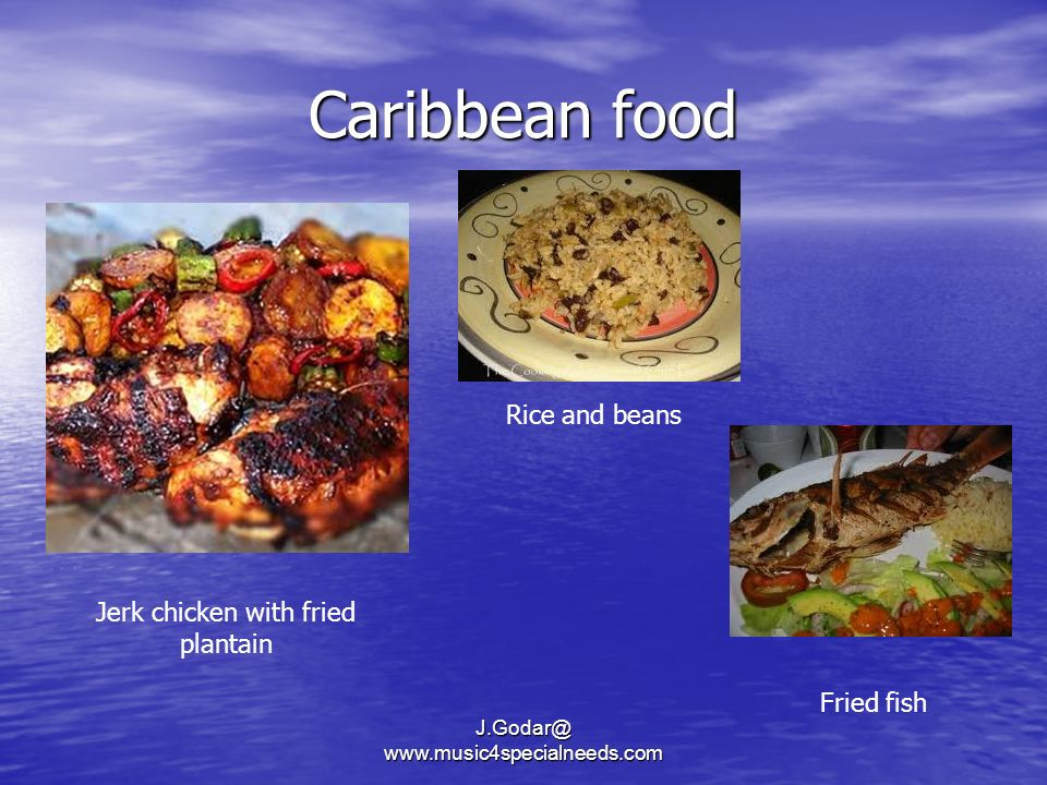 Caribbean food Rice and beans Jerk chicken with fried plantain