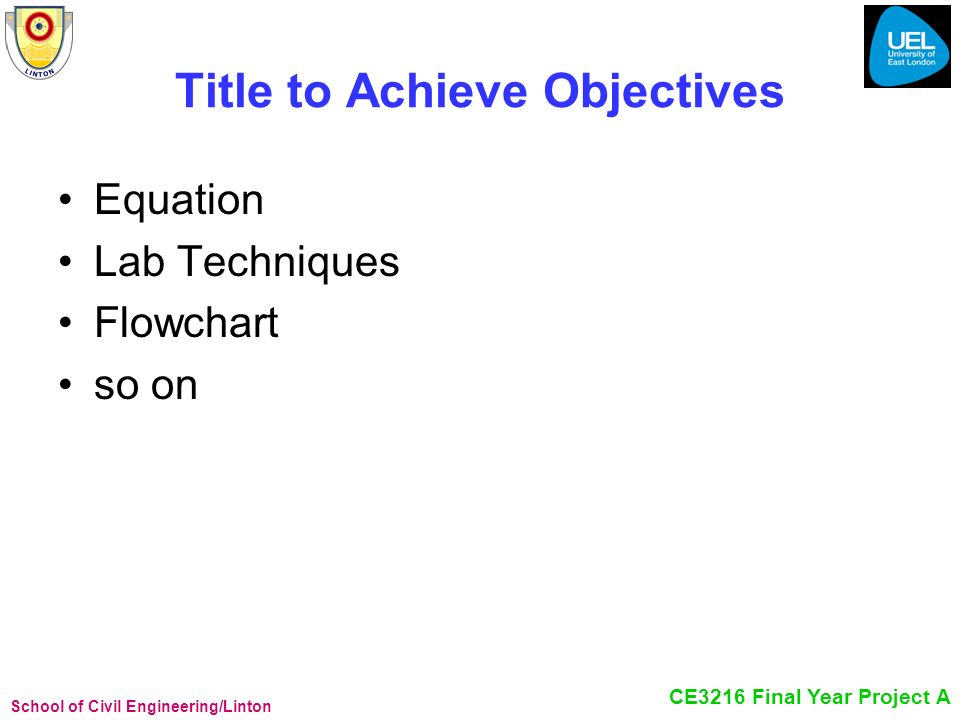 Title to Achieve Objectives
