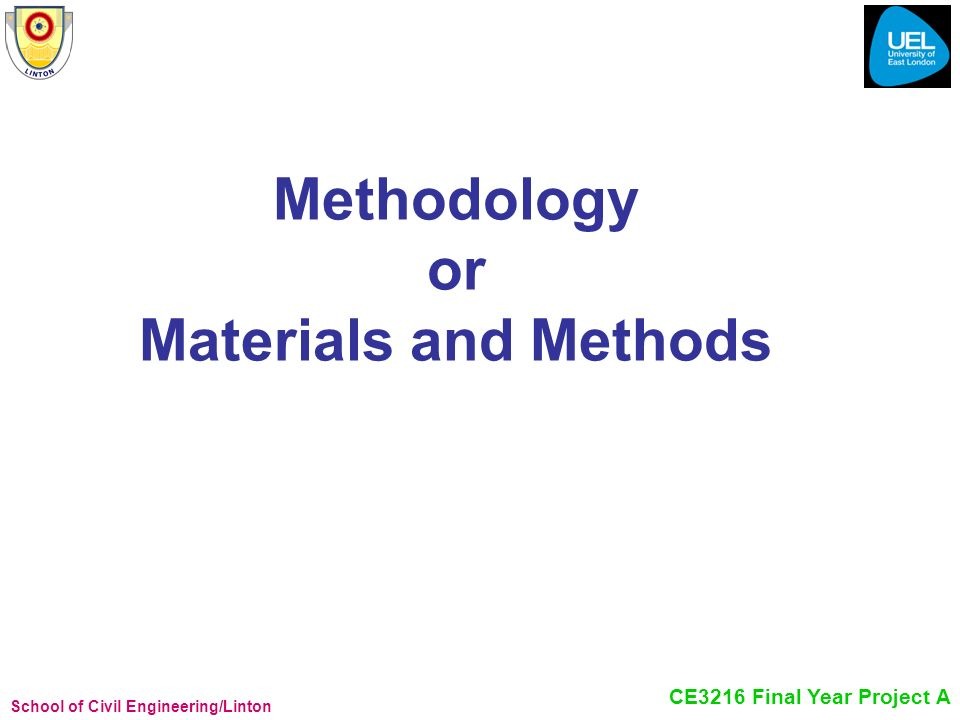 Methodology or Materials and Methods