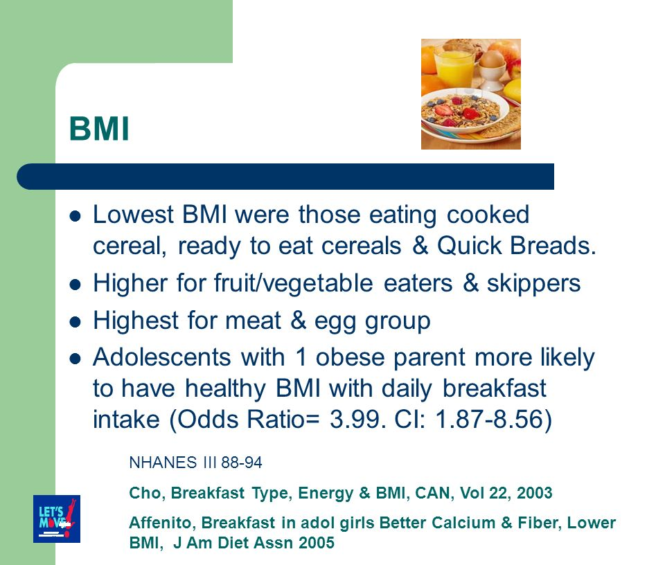 BMI Lowest BMI were those eating cooked cereal, ready to eat cereals & Quick Breads. Higher for fruit/vegetable eaters & skippers.
