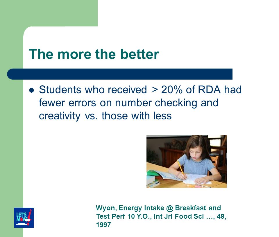 The more the better Students who received > 20% of RDA had fewer errors on number checking and creativity vs. those with less.