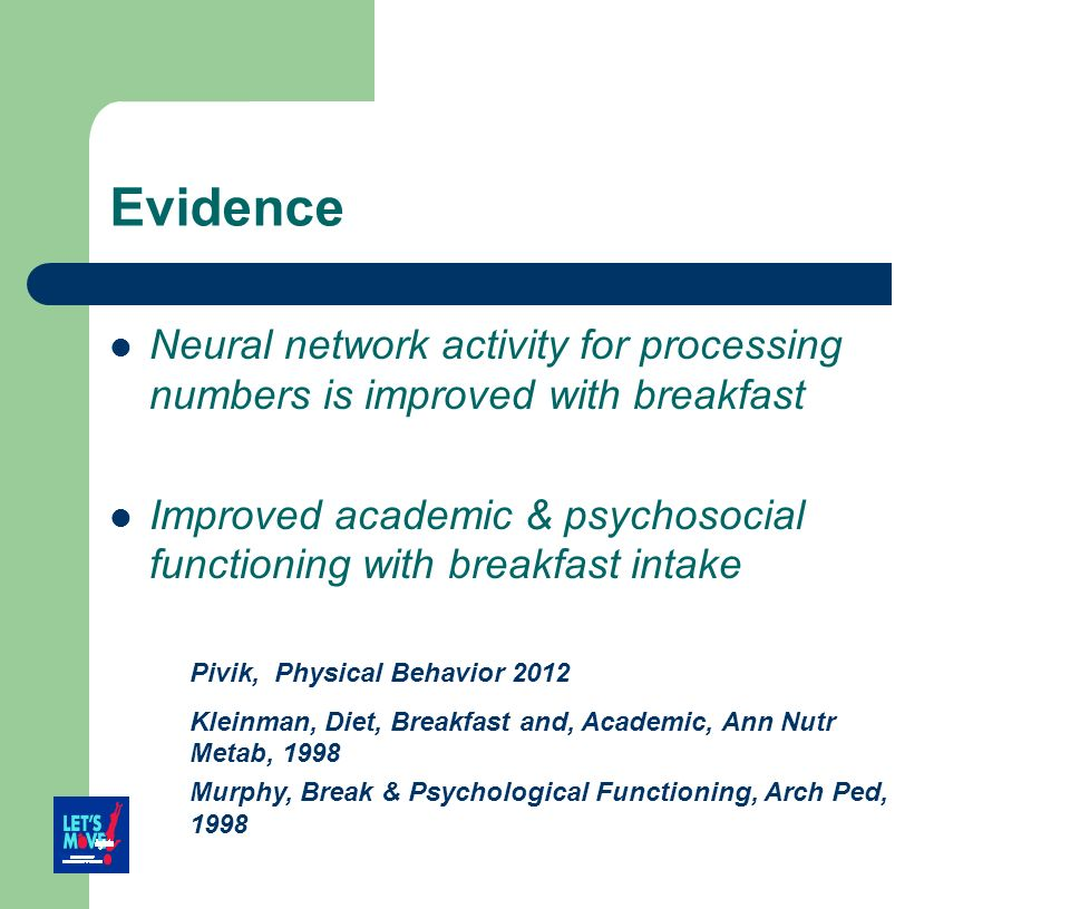 Evidence Neural network activity for processing numbers is improved with breakfast.