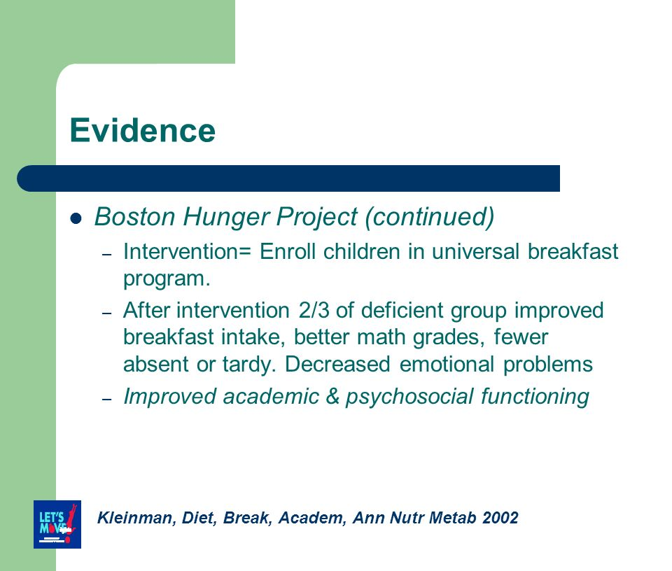 Evidence Boston Hunger Project (continued)