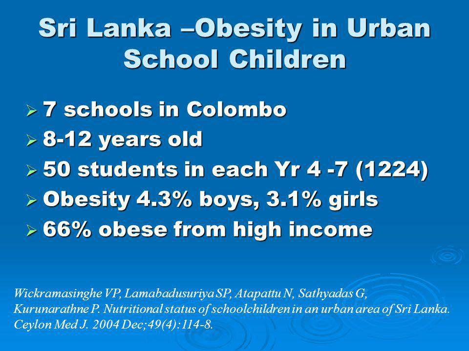 Sri Lanka –Obesity in Urban School Children