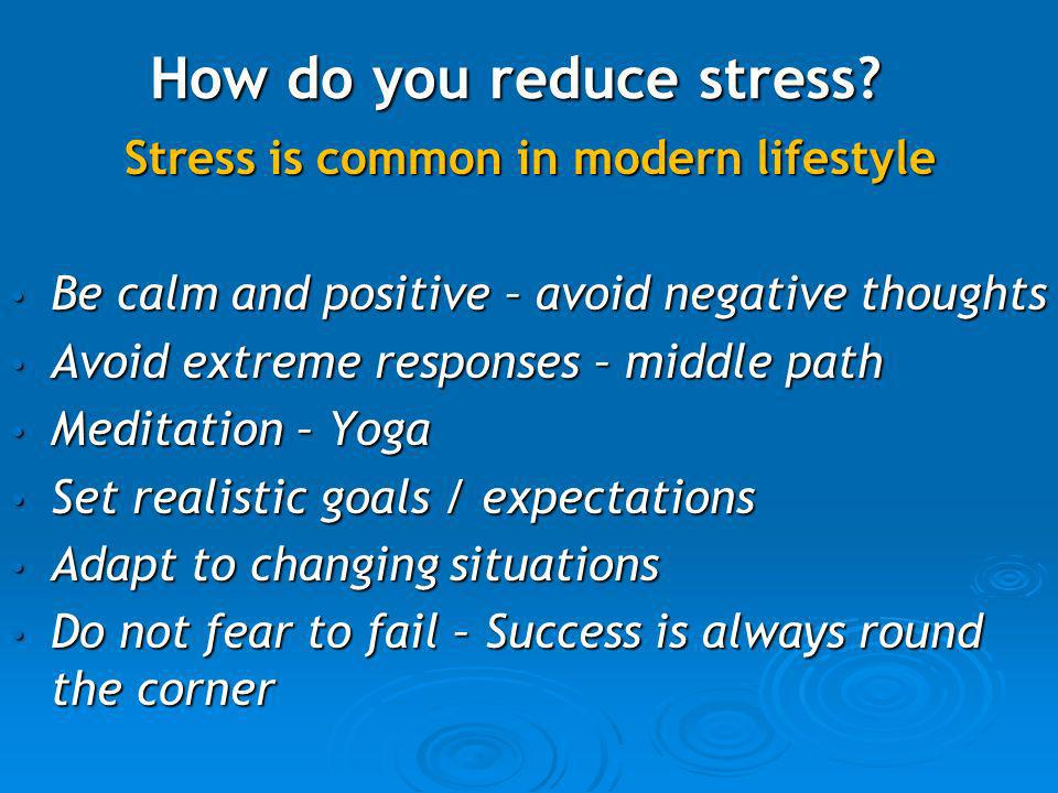 How do you reduce stress