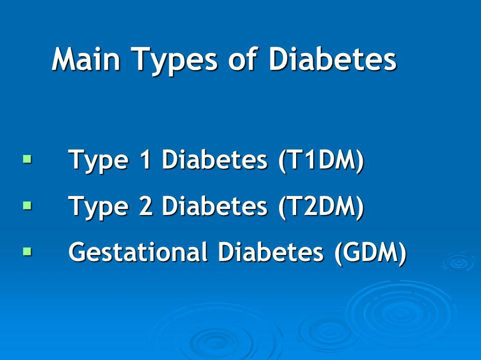 Main Types of Diabetes Type 1 Diabetes (T1DM) Type 2 Diabetes (T2DM)