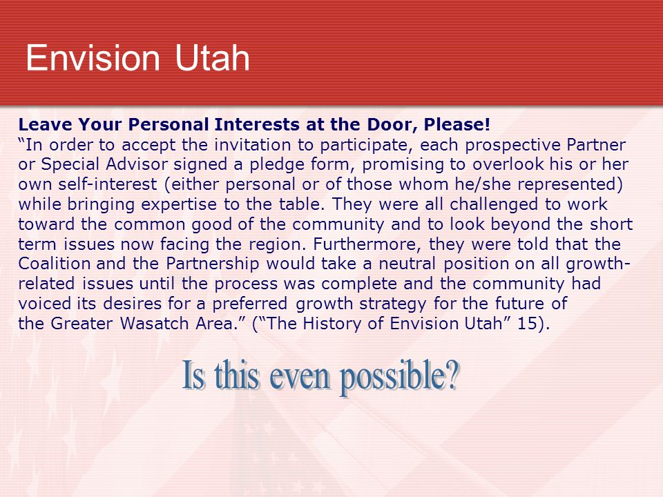 Envision Utah Is this even possible