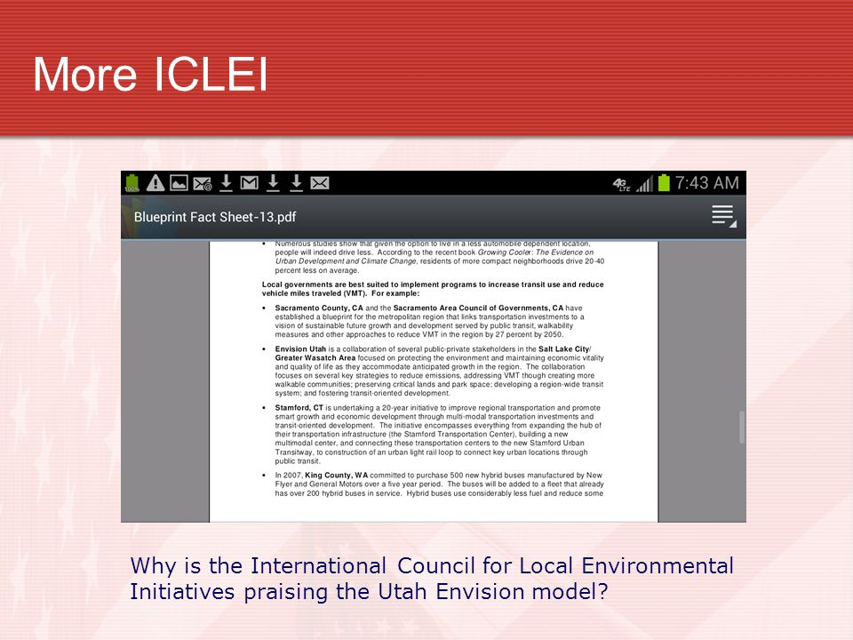 More ICLEI Why is the International Council for Local Environmental Initiatives praising the Utah Envision model